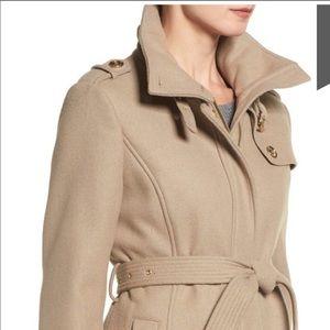 MICHAEL KORS-Tan Wool Blend Boho Trench Coat-8P